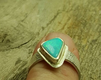 Lab Opal, Sterling silver textured band, womens dinner ring, cocktail ring, ladies ring. ooak, Ring size 7, Ready to ship.