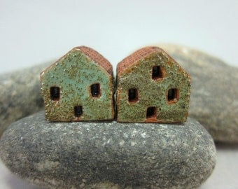 READY TO SHIP...Miniature Terracotta House Beds...Set of 2...Textured Turquoise Green