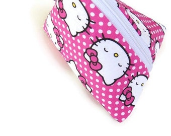 Hello Kitty Pouch, Hello Kitty Bag, Girls Gift, Unique Gift, Childrens Pouch, Shopkins Keeper, Pouch Handmade Pouch, Gift Bags, Storage Bag,
