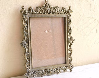 Pair of Vintage Ornate Italian Florentine Picture Frames with Glass 3.5 x 4.75