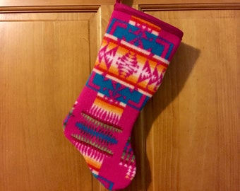 Christmas Stocking XL Lambswool Hot Pink Chief Joseph Southwestern Tribal Handcrafted Using Fabric from Pendleton Woolen Mill