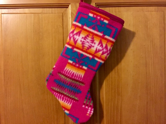 Christmas Stocking XL Lambswool Hot Pink Chief Joseph