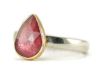 Rose Cut Sapphire Ring - 14k Gold and Sterling Ring - Pink Sapphire Mixed Metal Ring