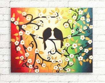 Original Love Bird Painting on Canvas Blossom Tree Branch Wall Art Wedding Gift for Couple Bedroom Decor 16x20