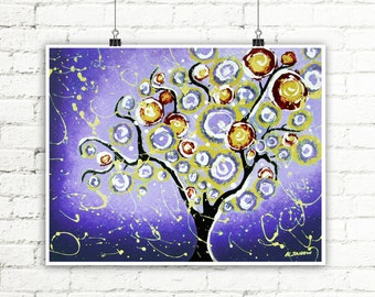 Whimsical Tree of Life Wall Art Print, Purple Tree Wall Decor, Abstract Landscape Home Decor, Signed Giclee Print