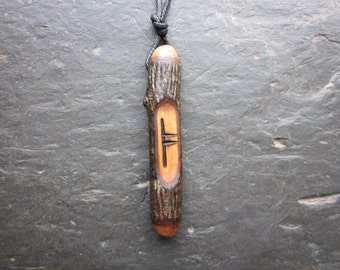 Natural Wood Ogham Pendant - Rowan/Luis - for Magical Protection.