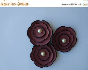 40% OFF SALE 40 Percent OFF Sale 3pcs Jewelry supplies leather flowers for pendants, necklaces, brooches, shoes clips etc Handmade supplies