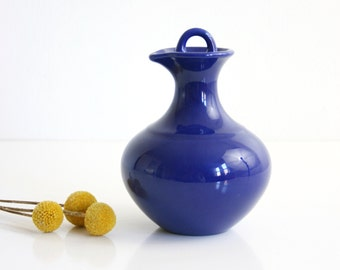 Cobalt Blue Franciscan El Patio Pitcher / Mid Century Gladding McBean Ceramic Carafe / El Patio Carafe With Lid