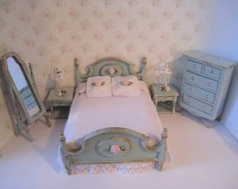 Dollhouse Double bedroom, 7 piece bedroom, Bed,double bedroom, Duck egg blue,cheval mirror,, Pretty spread , , twelfth scale