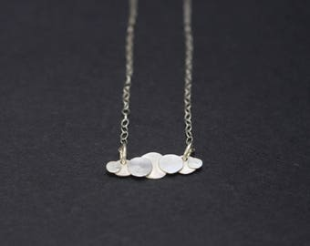 Clouds Bar Pendant Silver Necklace