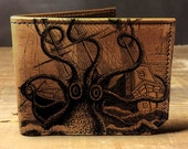 leather wallet - mens wallet - octopus attacks wallet - 001