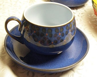 MIDNIGHT BLUE Cup and Saucer Denby Pottery England