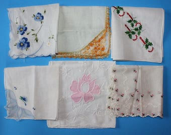 vintage Boxlot of Handerkerchief, 6 Total. All Different