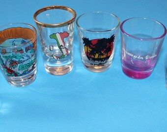 Vintage Boxlot of Shot Glasses.  All Different