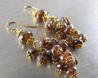 25% Off Mystic Brown Labradorite With Gold Cluster Earrings