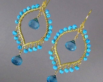 Blue Quartz With Turquoise Gold Bohemian Style Earrings