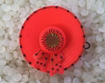 vintage barrette,little orange/red hat