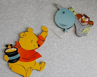 winnie the pooh wall decor, disney wall hanging, character cutouts, vintage nursery decor, vintage disney decor, wall art, retro kids decor