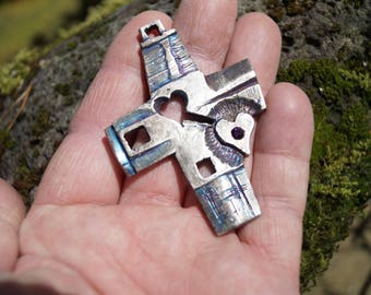 NEW Tao   Cross and  two hearts symbolize  hope and love Cross solid bronze Canada Made