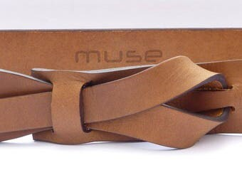 Dark Camel Brown Muse Leather Belt 1.5 and 1.25 inch,Nickel-Free, Free shipping