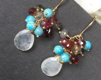 30% SALE Turquoise Cluster Earrings Rainbow Moonstone Earrings Gemstone Wire Wrap Garnet Cluster Colorful Gemstone Gold Filled Earrings