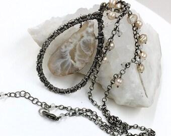 55% OFF Boho Necklace Agate Druzy Slice Necklace Oxidized Sterling Silver Raw Gem Stone Slab Slice Raw Mineral Jewelry Beige Pearl Dangle Ch
