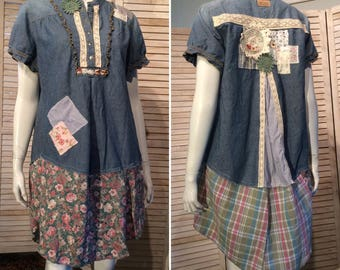 DeviDesigns Upcycled Shabby Chic Romantic Patchwork Tunic Dress Loose Fit Chambray Denim Vintage Lace Junk Gypsy Shirt L XL Primitive Eco