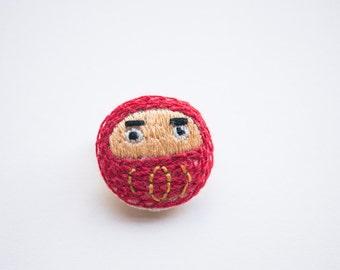 mini Daruma embroidered brooch pin