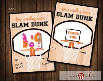 COACH GIFT: Printable 5x7 Slam Dunk Basketball Coach Gift Gift Card Holder DIY Printable Thank You