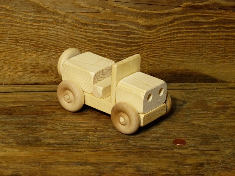 Handmade Wood Toy Jeep Truck Wooden Toys Hand Made WW2 KIds
