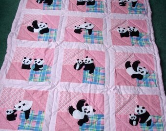 Panda Crib Quilt for Baby Girls, Hand Appliqued, Hand Quilted