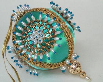 Vintage Beaded Christmas Ornament Turquoise Aqua Blue Satin Beads Gold Hand Made 1970s Retro
