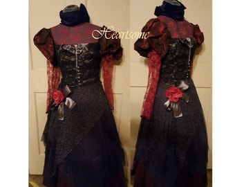 Masquerade gown OOAK Steampunk Victorian Burgundy lace Gothic Formal Black corset