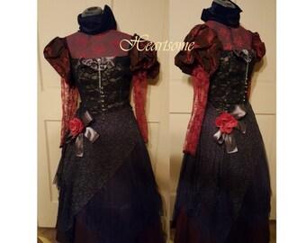 Masquerade gown Steampunk Victorian Burgundy lace Gothic Black corset