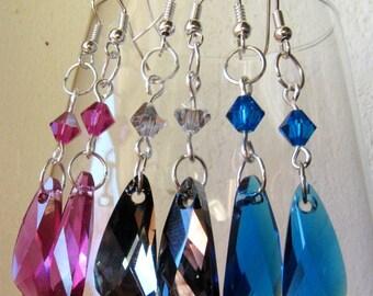 Swarovski wing earrings wedding jewelry bridal jewelry bridesmaid gifts Sterling Silver Jewelry
