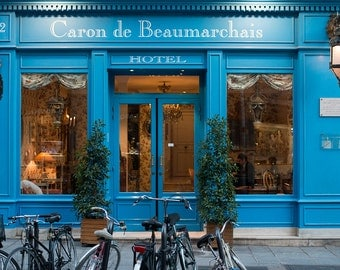 Paris Hotel in the Marais, Caron de Beaumarchais, Paris Photography, Autumn in Paris, Paris Photography, Blue Paris Decor