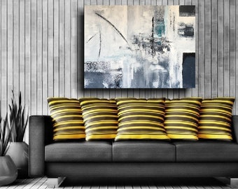 XL Original Large Abstract Painting Modern Art 48 x 36 Minimalist Gray Painting Canvas Wall Art Interior Design Outsider Zen Silver Ice Blue