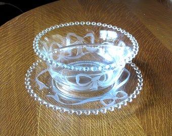 Candlewick Crystal 2Part Mayo or Salad Dressing Bowl w/ Liner Ribbon Bow Cutting