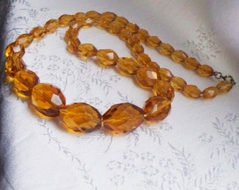 Antique Amber Glass Necklace - Faceted, Topaz, Glass