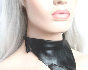 black leather collar, leather fetish, sleek organic primal raw, natural leather collar, by renegade icon designs