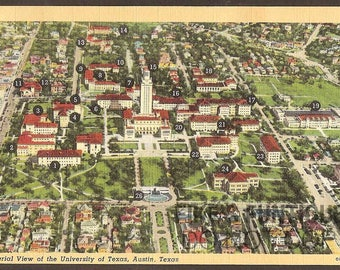 Austin, Texas Vintage Linen Postcard - Aerial View, University of Texas (Unused)