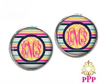 Monogram Stud Earrings, Summertime Stripe Personalized Monogram Earrings, Monogram Jewelry  (593)