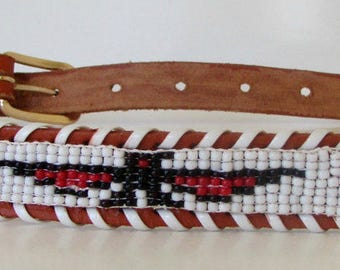 Vintage Beaded Leather Souvenir Belt Thrunderbirds Southwestern Belt  Rockabilly  Western sz 33