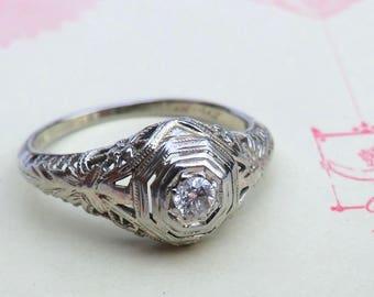 Art Deco Diamond Filigree Engagement Ring 18K White Gold European Cut Diamond
