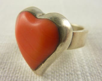 Mexican Pink Coral Sterling Silver Ring Size 6