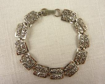Vintage Sterling Beau Floral Link Bracelet