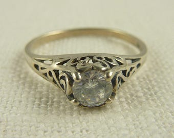 Size 8 Vintage Sterling Kabana Filigree Cubic Zirconia Solitaire Ring