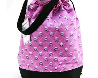Large Two Project Knitting Project Bag Crochet Tote - Purple Crafty Pirates