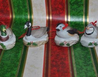 4 Vintage Bisque Bird Tree Ornaments Homco Goose Duck Chickadee Quail