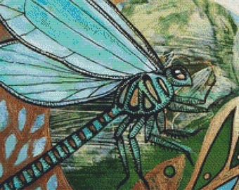 Dragonfly Cross Stitch, Lynnette Shelley Art,  Counted Cross Stitch Kit, Modern Cross Stitch, Insect Art, Green Dragonfly, 'Dragin Flight'